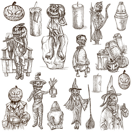 jack pack: From Halloween theme, JACK O LANTERN - Collection of an hand drawn illustrations. Description: Full sized hand drawn illustrations drawing on white.
