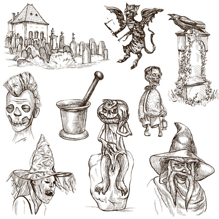 jack pack: Halloween, Monsters, Magic (and Fairy Tales) - Collection (no.10) of an hand drawn illustrations. Full sized hand drawn illustrations drawing on white.