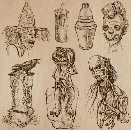 jack pack: Halloween (Monsters, Magic and Fairy Tales) - Collection (no.18) of an hand drawn illustrations. Description: Each drawing comprise of three layer of lines, the colored background is isolated. Illustration