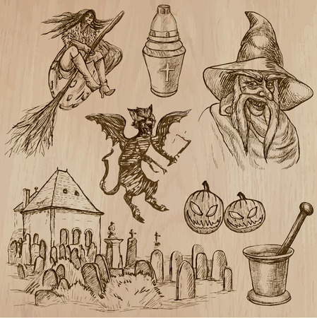 three   layer: Halloween (Monsters, Magic and Fairy Tales) - Collection (no.19) of an hand drawn illustrations. Description: Each drawing comprise of three layer of lines, the colored background is isolated. Illustration