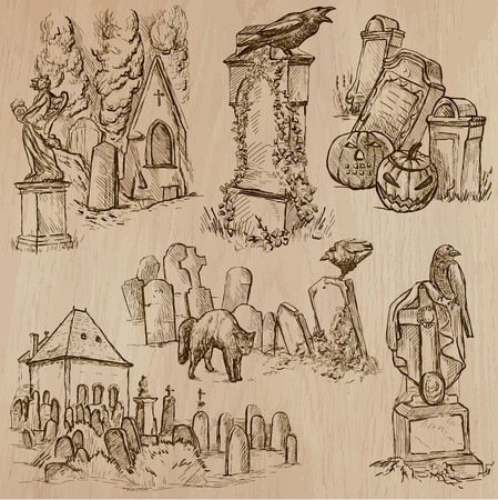 Halloween (Cemeteries) - Collection (no.2) of an hand drawn illustrations. Description: Each drawing comprise of three layer of outlines, the colored background is isolated.
