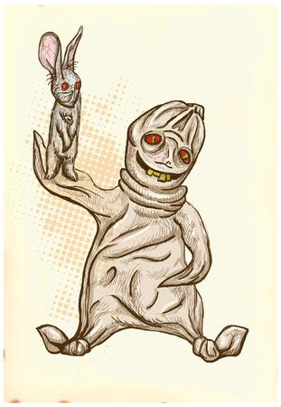 esoterismo: Boogey (Halloween y los monstruos tema) - Un dibujado a mano y pintura ilustraciones. Descripci�n: Dibujo forman parte de tres capas de l�neas adem�s de la capa de color, el fondo tambi�n est� aislado.