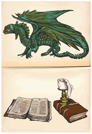 Dragon and Still Life of Books with Candle - An hand drawn and painting illustrations. Description: Each drawing comprise of two (or three) layers of lines plus colored layer, the background is also isolated. Illustration