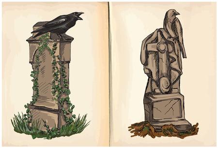 esoterismo: Graves (temáticos de Halloween) - Una mano dibujada y las ilustraciones de la pintura. Descripción: comprenden cada uno dibujo de dos (o tres) capas de líneas además de la capa de color, el fondo también está aislado.