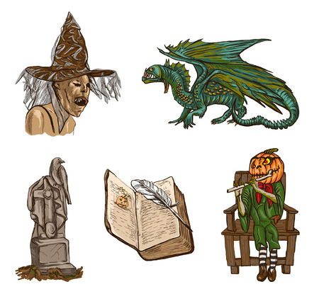 jack pack: Halloween Avatars - Coloured Collection of an hand drawn illustrations. Full sized hand drawn illustrations drawing on white.