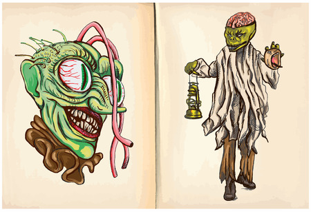 comprise: Monster head and Corpse - An hand drawn and painting halloween illustrations. Description: Each drawing comprise of two (or three) layers of lines plus colored layer, the background is also isolated.