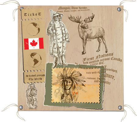 canada aboriginal: Hand drawn vectors from the series: Travels around the world - pictures of life in CANADA. On the topic: First Nations and Tribes (no.2)