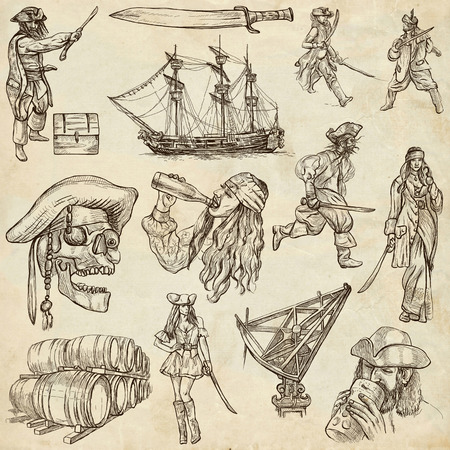 Pirates, Buccaneers and Sailors - Collection (no.1) of an hand drawn illustrations. Full sized hand drawn illustrations drawing on old paper. illustration