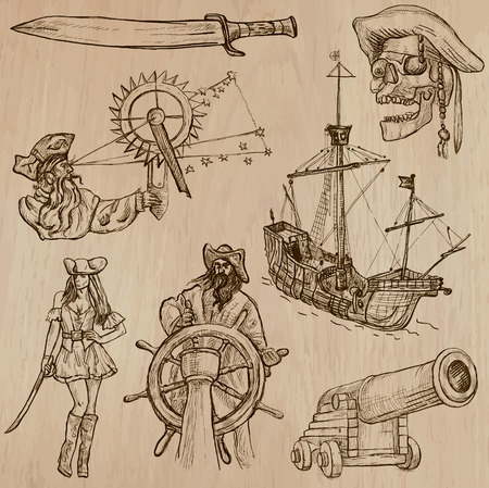 three   layer: Pirates, Buccaneers and Sailors - Collection (no.1) of an hand drawn illustrations. Description: Each drawing comprise of three layer of outlines, the colored background is isolated.