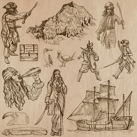 three   layer: Pirates, Buccaneers and Sailors - Collection (no.3) of an hand drawn illustrations. Description: Each drawing comprise of three layer of outlines, the colored background is isolated.