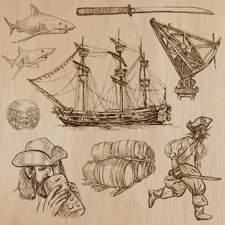 three   layer: Pirates, Buccaneers and Sailors - Collection (no.2) of an hand drawn illustrations. Description: Each drawing comprise of three layer of outlines, the colored background is isolated. Illustration