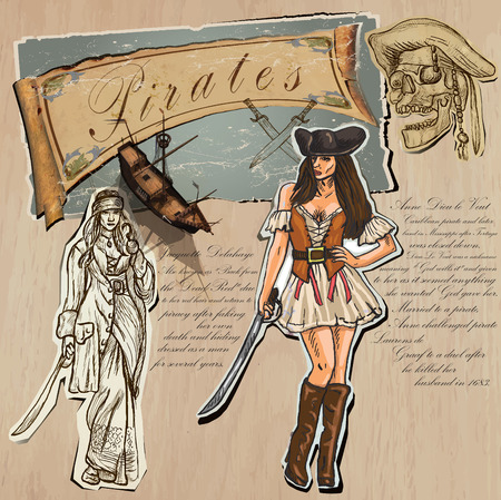 girl with gun: An hand drawn (plus mixed media) vector pack. Topic: PIRATES - Women. Description: Vector is editable in several layers and group of objects. Illustration