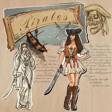 se�oras: Un dibujado a mano (m�s t�cnica mixta) paquete de vectores. Tema: Piratas - Mujeres. Descripci�n: Vector es editable en varias capas y grupo de objetos.