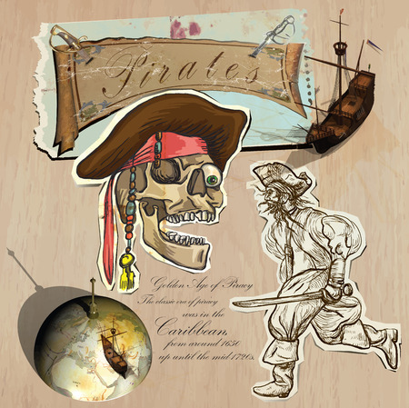 mixed media: An hand drawn (plus mixed media) vector pack. Topic: PIRATES - Golden Age. Description: Vector is editable in several layers and group of objects. Illustration