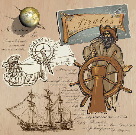 mixed media: An hand drawn (plus mixed media) vector pack. Topic: PIRATES - Navigation at Sea. Description: Vector is editable in several layers and group of objects.
