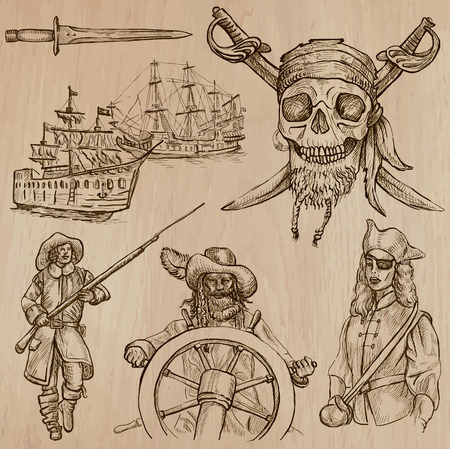 three   layer: Pirates, Buccaneers and Sailors - Collection (no.5) of an hand drawn illustrations. Description: Each drawing comprise of three layer of outlines, the colored background is isolated. Illustration