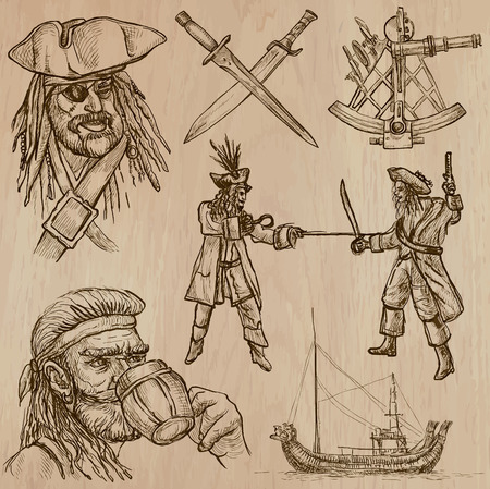 three layer: Pirates, Buccaneers and Sailors - Collection (no.6) of an hand drawn illustrations. Description: Each drawing comprise of three layer of outlines, the colored background is isolated.