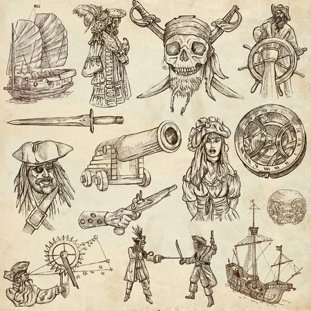 sized: Pirates, Buccaneers and Sailors - Collection (no.2) of an hand drawn illustrations. Full sized hand drawn illustrations drawing on old paper.