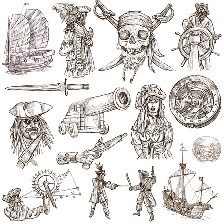 quadrant: Pirates, Buccaneers and Sailors - Collection (no.2) of an hand drawn illustrations. Full sized hand drawn illustrations drawing on white (isolated).