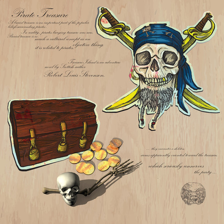 An hand drawn (plus mixed media) vector pack. Topic: PIRATES - Buried Treasures. Description: Vector is editable in several layers and group of objects. Vector
