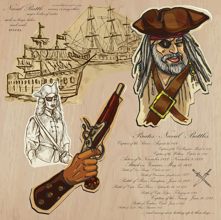 An hand drawn vector pack. Topic: PIRATES - Naval Battles. Description: Vector is editable in several layers and group of objects. Vector
