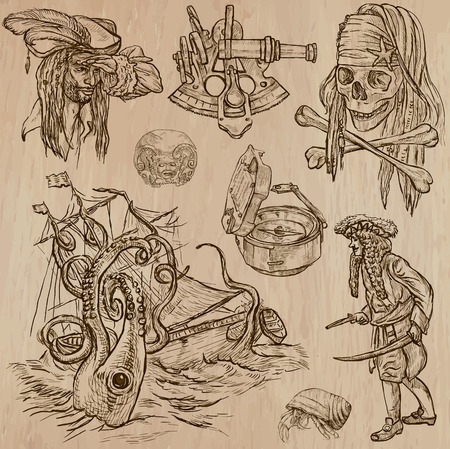 desperado: Pirates, Buccaneers and Sailors - Collection (no.7) of an hand drawn illustrations. Description: Each drawing comprise of three layer of outlines, the colored background is isolated. Editable in layers and groups. Illustration