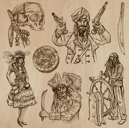 avenger: Pirates, Buccaneers and Sailors - Collection (no.8) of an hand drawn illustrations. Description: Each drawing comprise of three layer of outlines, the colored background is isolated. Editable in layers and groups.