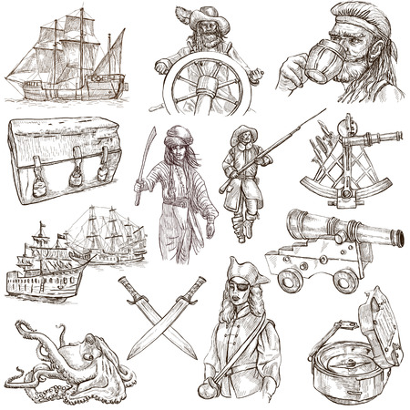 Pirates, Buccaneers and Sailors - Collection (no.3) of an hand drawn illustrations. Full sized hand drawn illustrations drawing on white (isolated). illustration