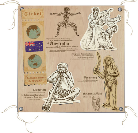 oceania: Hand drawn vectors from the series: Travels around the World - pictures of life in AUSTRALIA. On the topic: Nations and Aboriginals and Art. Vector is editable in groups and layers. Illustration