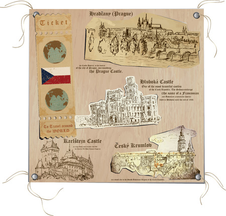 Hand drawn vectors from the series: Travels around the World - pictures of life in CZECH Republic. On the topic: Sights (Castles). Vector is editable in layers and groups.