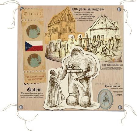 esoterismo: Dibujado a mano de vectores de la serie: viaja por el mundo - las imágenes de la vida en la República Checa. Sobre el tema: Místico Praga. Vector es editable en capas y grupos.