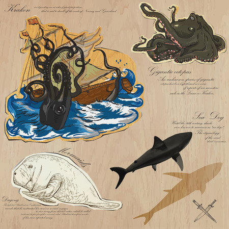 An hand drawn vector pack. Topic: PIRATES - Sea Monsters. Description: Vector is editable in several layers and group of objects.