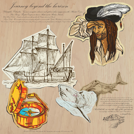 An hand drawn vector pack. Topic: PIRATES - Journey beyond the Horizon. Description: Vector is editable in several layers and group of objects.