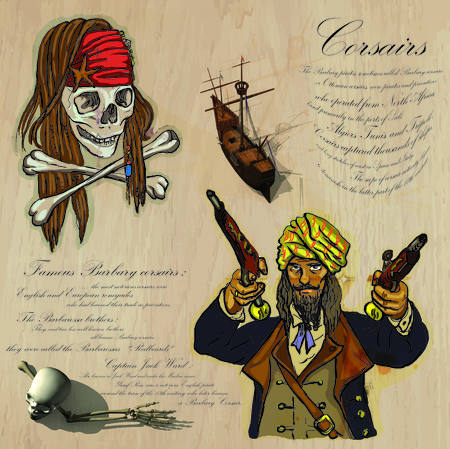 An hand drawn vector pack. Topic: PIRATES - Corsairs. Description: Vector is editable in several layers and group of objects.
