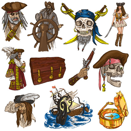 Pirates, Buccaneers and Sailors - Collection (colored pack no.1) of an hand drawn illustrations. Full sized hand drawn illustrations drawing on white background (isolated). Stock Photo
