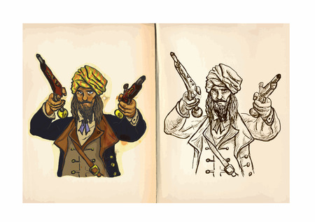 exotica: Childrens coloring book. An hand drawn illustrations from series: Pirates - CORSAIR. Vector is editable in group and layers, the paper ((background) is in the bottom layer.