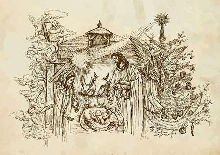 divine: Kerststal - (haalt zijn inspiratie uit de rekeningen van de geboorte van Jezus in de evangeliën van Matteüs en Lucas). Vector illustratie (4 lagen).