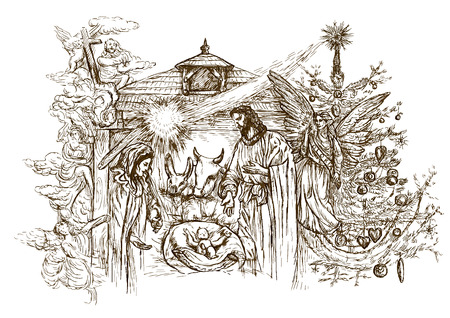Nativity Scene - (takes its inspiration from the accounts of the birth of Jesus in the Gospels of Matthew and Luke). Vector illustration (3 layers) on white. Illustration