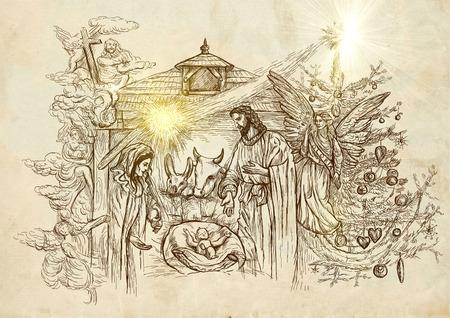 Kerststal - (haalt zijn inspiratie uit de rekeningen van de geboorte van Jezus in de evangeliën van Matteüs en Lucas). Een hand getekende illustratie (full-size) op oud papier.