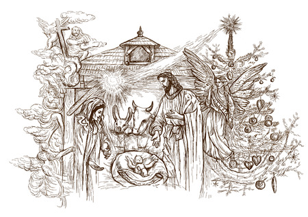 tranquil scene: Nativity Scene - (takes its inspiration from the accounts of the birth of Jesus in the Gospels of Matthew and Luke). An hand drawn illustration (full sized) on white.