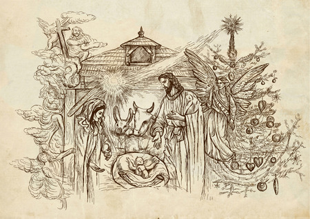 gospels: Nativity Scene - (takes its inspiration from the accounts of the birth of Jesus in the Gospels of Matthew and Luke). An hand drawn illustration (full sized) on old paper.
