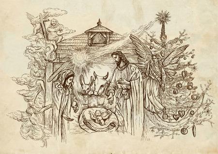 Presepe - (si ispira conti della nascita di Gesù nei Vangeli di Matteo e Luca). Un'illustrazione disegnata a mano (full size) sulla vecchia carta. Archivio Fotografico - 33022815