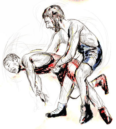greco: An hand drawn illustration - Greco Roman Wrestling. Vector is editable in layers.