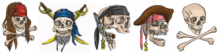 Pirates - Skulls collection. Collection of an hand drawn colored illustrations. Description: Each drawing comprise of two layer of outlines plus colored layer. Isolated on white.