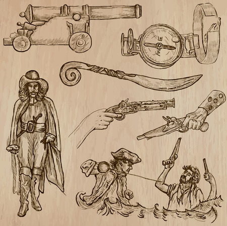 three   layer: Pirates, Buccaneers and Sailors - Collection (no.11) of an hand drawn illustrations. Description: Each drawing comprise of three layer of outlines, the colored background is isolated.