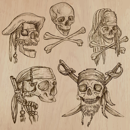 Pirates - Skulls collection. Collection of an hand drawn illustrations. Description: Each drawing comprise of three layer of outlines, the colored background is isolated. Vector