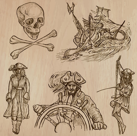 three   layer: Pirates, Buccaneers and Sailors - Collection (no.10) of an hand drawn illustrations. Description: Each drawing comprise of three layer of outlines, the colored background is isolated. Illustration