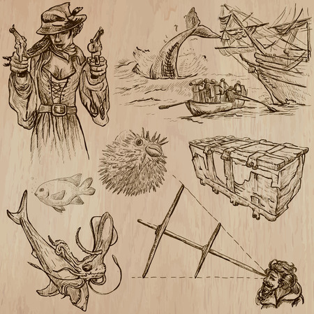 three   layer: Pirates, Buccaneers and Sailors - Collection (no.12) of an hand drawn illustrations. Description: Each drawing comprise of three layer of outlines, the colored background is isolated. Illustration