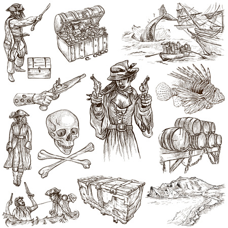 sized: Pirates, Buccaneers and Sailors - Collection (no.6) of an hand drawn illustrations. Full sized hand drawn illustrations drawing on white. Stock Photo