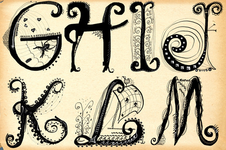frizzy: An hand drawn illustration, pack of letters - Curly playful Alphabet (The same size of letters). Part: G to M (Letters on old paper). Stock Photo